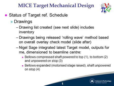 MICE Target Mechanical Design l Status of Target ref. Schedule »Drawings –Drawing list created (see next slide) includes inventory –Drawings being released.