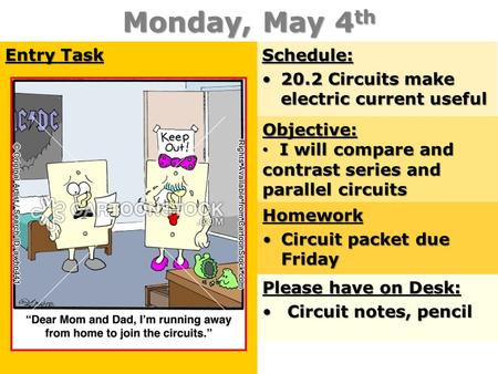 Monday, May 4 th Entry Task Schedule: 20.2 Circuits make electric current useful20.2 Circuits make electric current useful Objective: I will compare and.