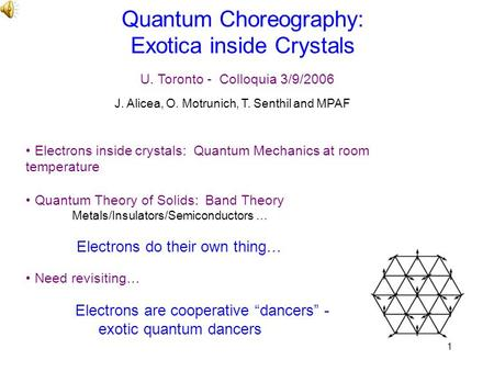 1 Quantum Choreography: Exotica inside Crystals Electrons inside crystals: Quantum Mechanics at room temperature Quantum Theory of Solids: Band Theory.