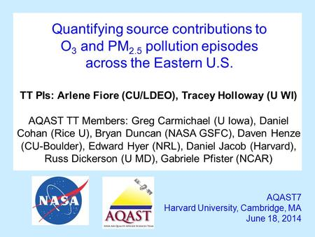 Quantifying source contributions to O 3 and PM 2.5 pollution episodes across the Eastern U.S. AQAST7 Harvard University, Cambridge, MA June 18, 2014 TT.