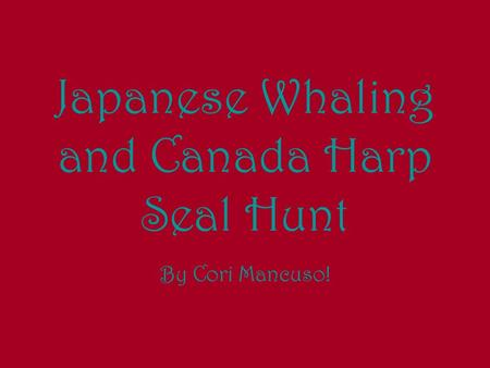 Japanese Whaling and Canada Harp Seal Hunt By Cori Mancuso!