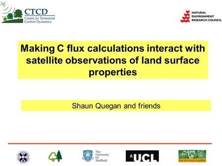 Shaun Quegan and friends Making C flux calculations interact with satellite observations of land surface properties.