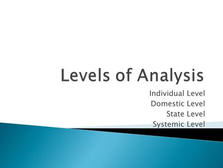 Individual Level Domestic Level State Level Systemic Level