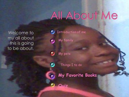 My Favorite Books Quiz Introduction of me My family My pets Things I to do.