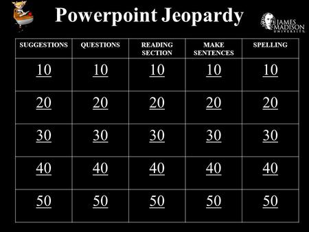 Powerpoint Jeopardy SUGGESTIONSQUESTIONSREADING SECTION MAKE SENTENCES SPELLING 10 20 30 40 50.