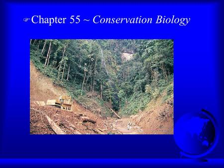 F Chapter 55 ~ Conservation Biology. Three Levels of Biodiversity F Loss of Genetic diversity: F Loss of Species Diversity: endangered vs. threatened.