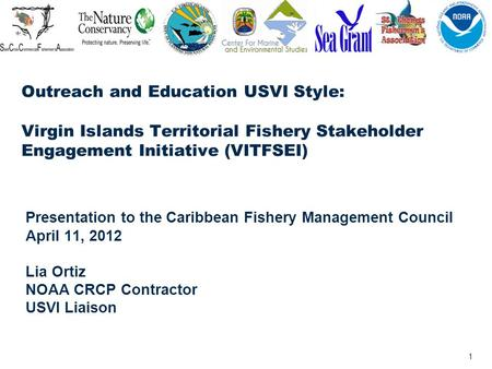 1 Outreach and Education USVI Style: Virgin Islands Territorial Fishery Stakeholder Engagement Initiative (VITFSEI) Presentation to the Caribbean Fishery.