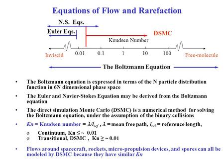The Boltzmann equation is expressed in terms of the N particle distribution function in 6N dimensional phase space The Euler and Navier-Stokes Equation.