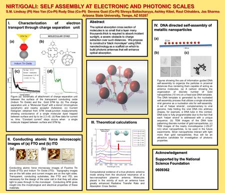 NIRT/GOALI: SELF ASSEMBLY AT ELECTRONIC AND PHOTONIC SCALES S.M. Lindsay (PI) Hao Yan (Co-PI) Rudy Diaz (Co-PI) Devens Gust (Co-PI) Shreya Battacharyya,