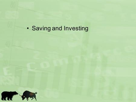 Saving and Investing. To save or not to save, that is the question.