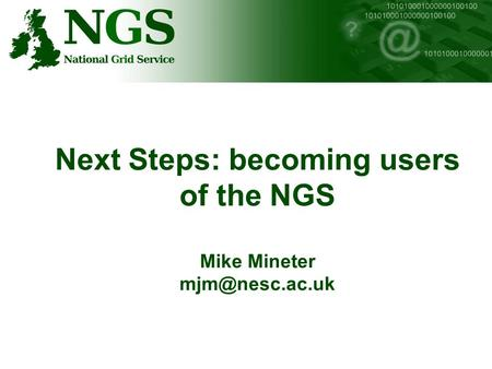Next Steps: becoming users of the NGS Mike Mineter