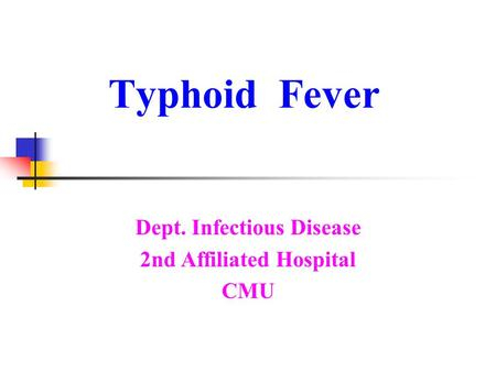 Dept. Infectious Disease 2nd Affiliated Hospital CMU