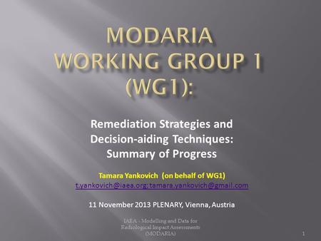 Remediation Strategies and Decision-aiding Techniques: Summary of Progress Tamara Yankovich (on behalf of WG1)