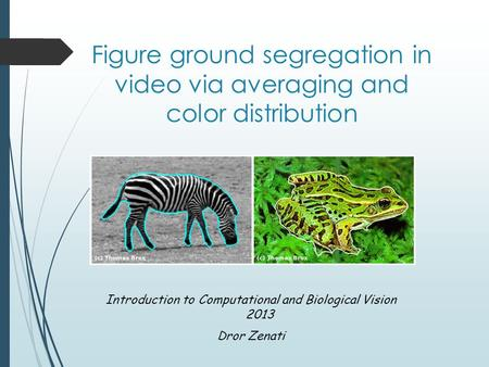 Figure ground segregation in video via averaging and color distribution Introduction to Computational and Biological Vision 2013 Dror Zenati.