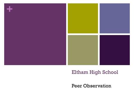 + Eltham High School Peer Observation. + Purpose A peer observation process is designed to support the continual improvement of learning and teaching.