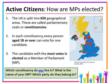 Active Citizens: How are MPs elected? 1.The UK is split into 650 geographical areas. These are called parliamentary seats or constituencies. 2.In each.