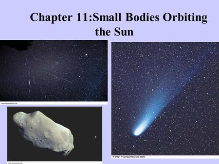 Chapter 11:Small Bodies Orbiting the Sun. Kuiper Belt The Kuiper Belt of comets spreads from Neptune out 50 AU from the Sun.