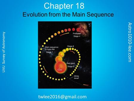 Chapter 18 Evolution from the Main Sequence Astro1010-lee.com UVU Survey of Astronomy.