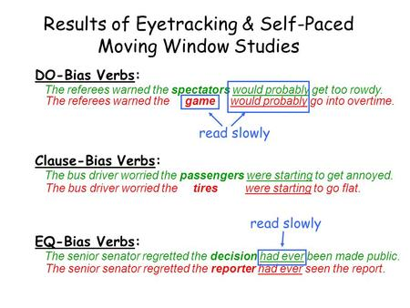 Results of Eyetracking & Self-Paced Moving Window Studies DO-Bias Verbs: The referees warned the spectators would probably get too rowdy. The referees.