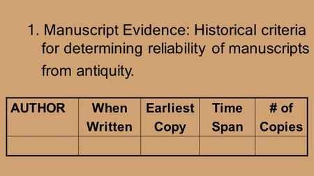 1. Manuscript Evidence: Historical criteria for determining reliability of manuscripts from antiquity. AUTHOR When Written Earliest Copy Time Span # of.
