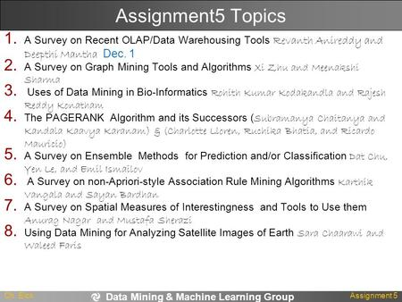 Data Mining & Machine Learning Group Ch. EickAssignment 5 Assignment5 Topics 1. A Survey on Recent OLAP/Data Warehousing Tools Revanth Anireddy and Deepthi.