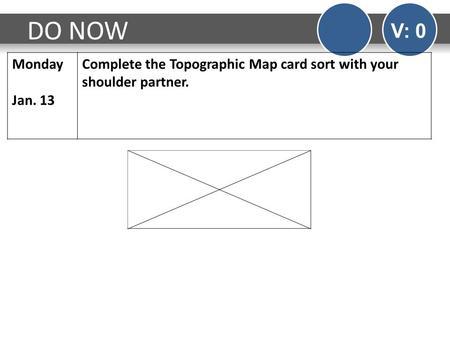 DO NOW V: 0 Monday Jan. 13 Complete the Topographic Map card sort with your shoulder partner.
