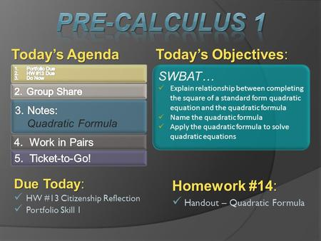 Today's Objectives: Today's Agenda SWBAT… Explain relationship between completing the square of a standard form quadratic equation and the quadratic formula.