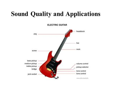 Sound Quality and Applications. Music vs. Noise Music –sounds that have a pleasing quality, a definite identifiable pitch, and rhythm –musical instruments.