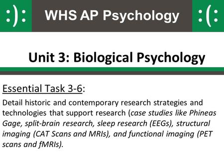 WHS AP Psychology Unit 3: Biological Psychology Essential Task 3-6: Detail historic and contemporary research strategies and technologies that support.