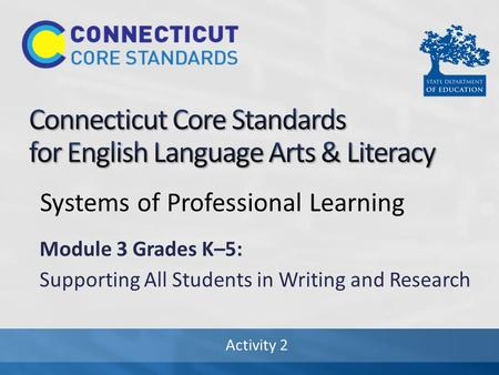 Activity 2 Systems of Professional Learning Module 3 Grades K–5: Supporting All Students in Writing and Research.