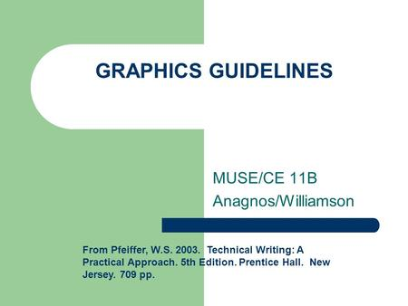 GRAPHICS GUIDELINES MUSE/CE 11B Anagnos/Williamson From Pfeiffer, W.S. 2003. Technical Writing: A Practical Approach. 5th Edition. Prentice Hall. New Jersey.