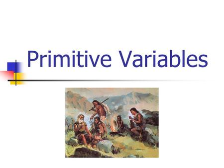 Primitive Variables What's a Variable? A quantity or function that may assume any given value or set of values (source – Dictionary.com) What types of.