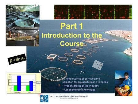 MASTERS IN AQUACULTURE AND FISHERIES Genetics and Selection Part 1 I ntroduction to the Course –The relevance of genetics and selection for aquaculture.