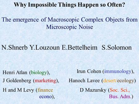 Why Impossible Things Happen so Often? The emergence of Macroscopic Complex Objects from Microscopic Noise N.Shnerb Y.Louzoun E.Bettelheim S.Solomon D.