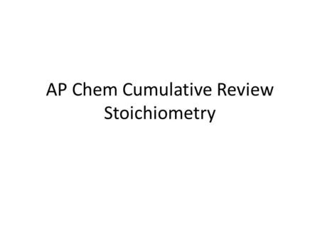 AP Chem Cumulative Review Stoichiometry. 1. What information can be derived from a chemical formula of an ionic compound versus a molecular compound?