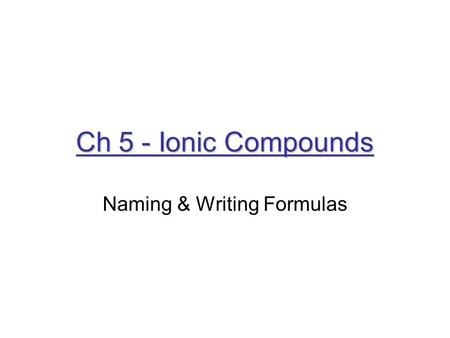 Naming & Writing Formulas