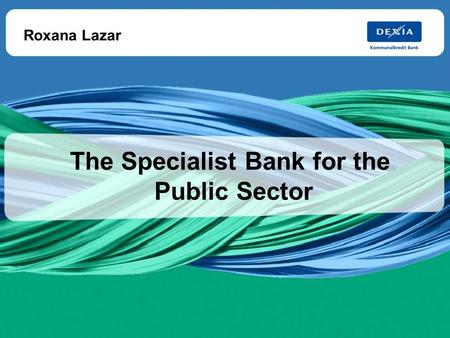 The Specialist Bank for the Public Sector 25-Jun-08 1 The Specialist Bank for the Public Sector Roxana Lazar.