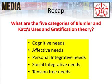 Recap What are the five categories of Blumler and Katz's Uses and Gratification theory? Cognitive needs Affective needs Personal Integrative needs Social.