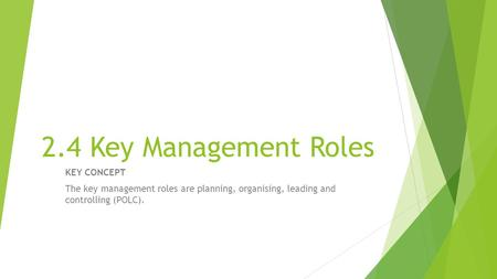 2.4 Key Management Roles KEY CONCEPT