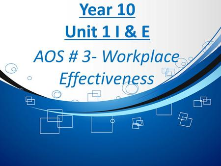 Year 10 Unit 1 I & E AOS # 3- Workplace Effectiveness.