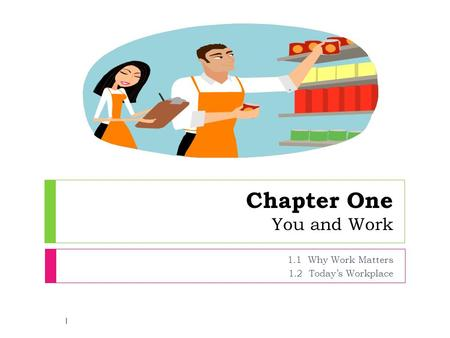 Chapter One You and Work 1.1 Why Work Matters 1.2 Today's Workplace 1.