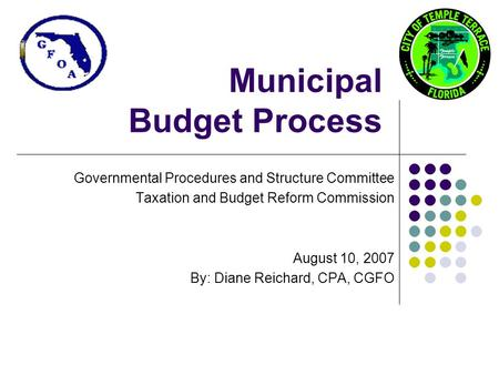 Municipal Budget Process Governmental Procedures and Structure Committee Taxation and Budget Reform Commission August 10, 2007 By: Diane Reichard, CPA,