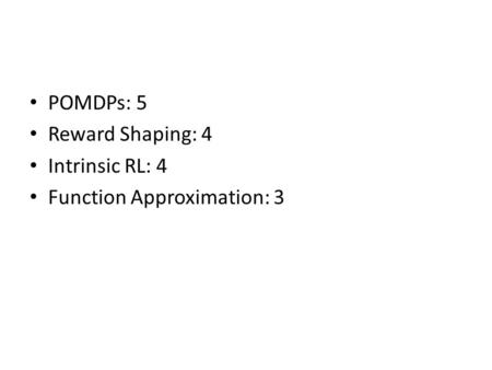 POMDPs: 5 Reward Shaping: 4 Intrinsic RL: 4 Function Approximation: 3.