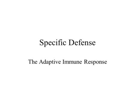 The Adaptive Immune Response