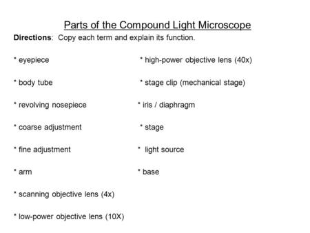 Parts of the Compound Light Microscope Directions: Copy each term and explain its function. * eyepiece * high-power objective lens (40x) * body tube *