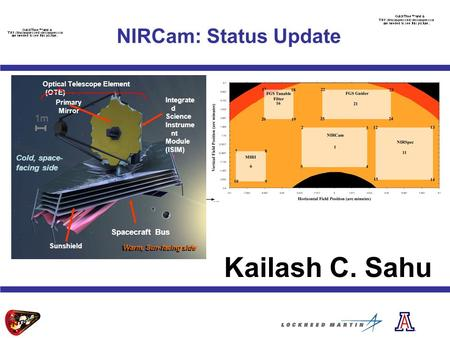 NIRCam: Status Update Kailash C. Sahu Sunshield Spacecraft Bus Warm, Sun-facing side Primary Mirror Integrate d Science Instrume nt Module (ISIM) Optical.