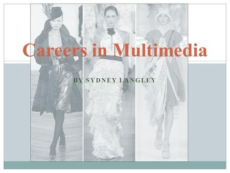 BY SYDNEY LANGLEY Careers in Multimedia. Journalism Journalism has many different facets. Some include: ० Sports ० Fashion ० World wide ० Local ० Opinion.