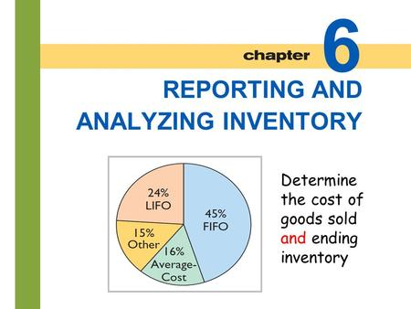 6-1 REPORTING AND ANALYZING INVENTORY 6 Determine the cost of goods sold and ending inventory.