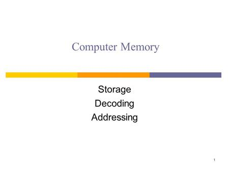 Computer Memory Storage Decoding Addressing 1. Memories We've Seen SIMM = Single Inline Memory Module DIMM = Dual IMM SODIMM = Small Outline DIMM RAM.