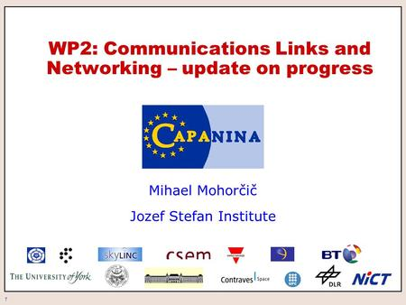 1 WP2: Communications Links and Networking – update on progress Mihael Mohorčič Jozef Stefan Institute.